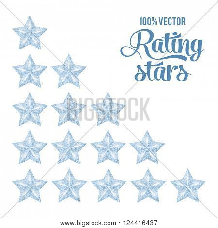 Silver Rating Stars Set with Luxury Golden Glitter Texture. Isolated on White Background. Vector Illustration.