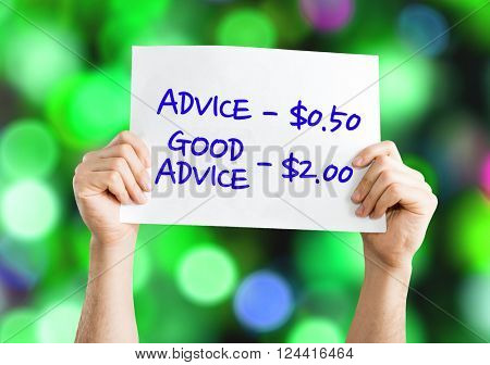 Advice - 0.50 / Good Advice - 2.00 placard with bokeh background