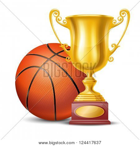 Realistic Golden Trophy Cup and Basketball Ball. Isolated on White Background. Winner Cup. Vector Illustration