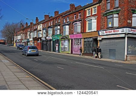 LIVERPOOL UK 3RD APRIL 2016 A street of derelict shops being sold by the council for £1