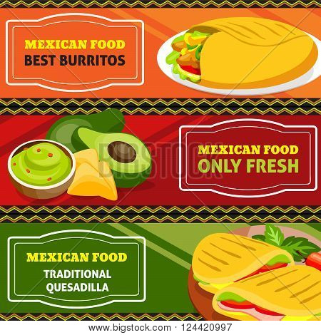 Mexican food horizontal banners set of traditional burritos and quesadilla with vegetables isolated vector illustration