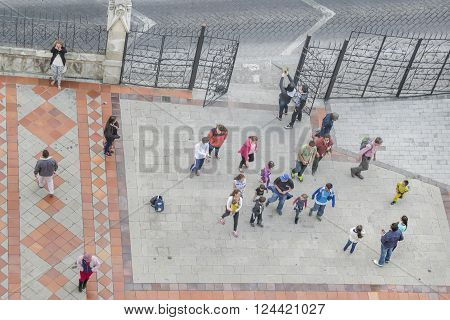 People At Entrance Of San Juan Basilica In Quito