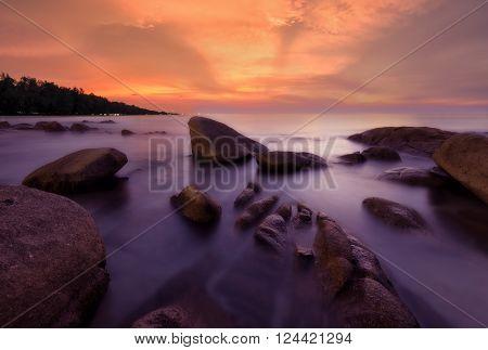 Beautiful seascape light Sunset Long exposure shooting technique