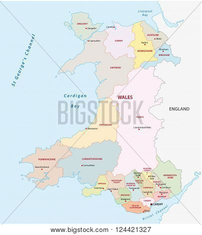 a wales administrative (Counties and  Cities) map