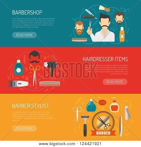 Horizontal banner with title and information about barbershop hairdresser items barber stylist isolated vector illustration