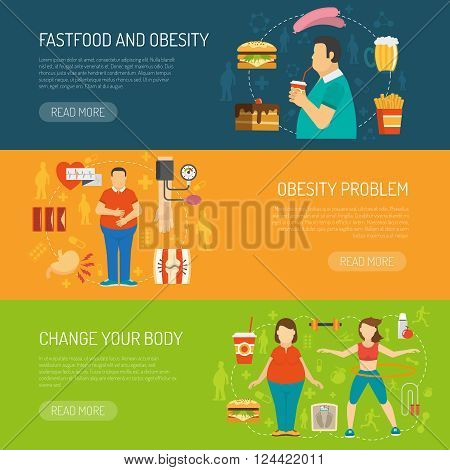 Horizontal color banners with information about fastfood obesity problem and health recommendation vector illustration