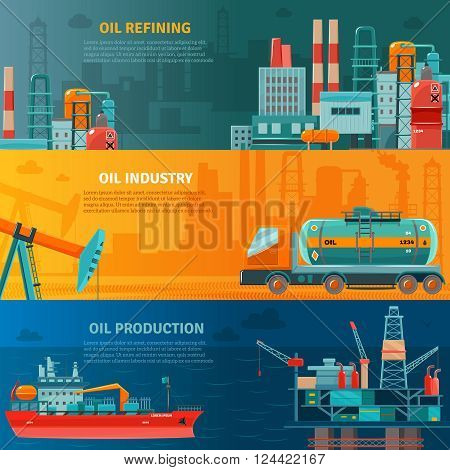 Oil industry horizontal banners set with production refining and transportation isolated vector illustration