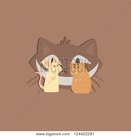 Hamster, Mous And Cats Head Funny Flat Vector Illustration In Creative Applique Style