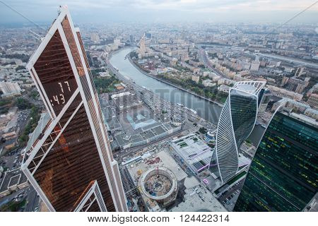 MOSCOW - OCT 7, 2015: Futuristic Moscow International Business Center, river. Years of construction of complex - 1995-2018