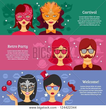 Three horizontal banners for retro party and carnival advertising with people in decorative masks and masquerade attributes elements flat vector illustration