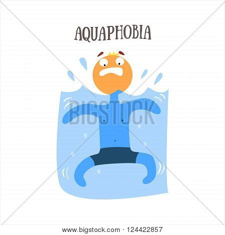 Aquaphobia Simplified Design Flat Vector Illustration On White Background