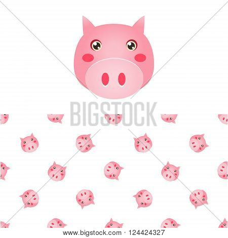 Pig Head Icon And Seamless Decorative Pattern In Childish Style  Flat Vector Print On White Background