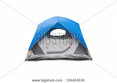 Blue dome tent isolated on white background with clipping path