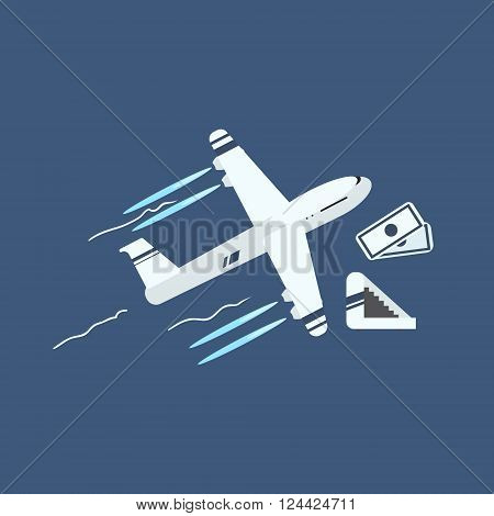 Plane Taking Off Primitive Graphic Style Flat Vector Icon On Blue Background