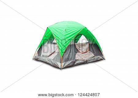 Green dome tent isolated on white background with clipping path