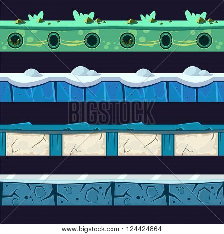 Water And Ice Platformer Level Floor Design Set  In 2-d Vector Looped Pattern