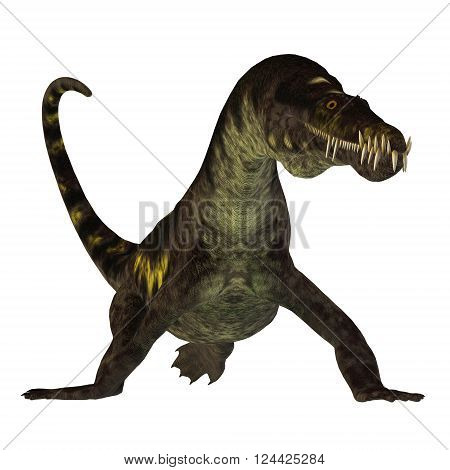 Nothosaurus on White 3D illustration - Nothosaurus was a semi-aquatic carnivorous reptile that lived in the Triassic Period of North Africa Europe and China.