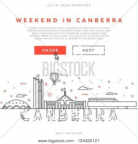 Weekend in Canberra. Capital city of Australia. Sights of the capital of Australia. Stylized city. Tourist advertising. Advertising template for travel agents.  landing page for the tour operator.