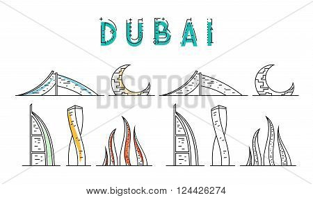 Dubai. United Arab Emirates. Sights United Arab Emirates Stylized city. Tourist advertising. Advertising template for travel agents.  landing page for the tour operator.
