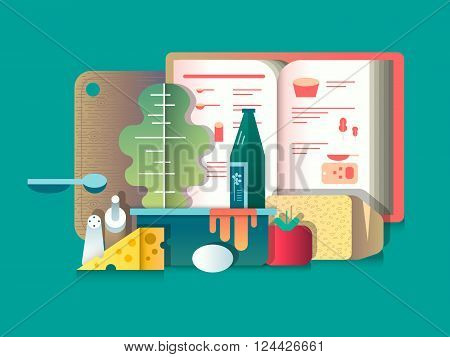 Book of recipes and products for cooking. Cooking food, culinary and assortment. Vector illustration