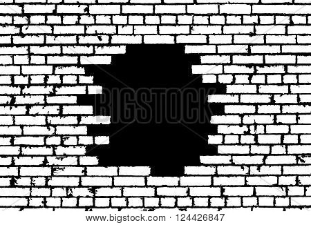 Broken Realistic Old White Brick Wall Concept On Black Background. Vector Illustration