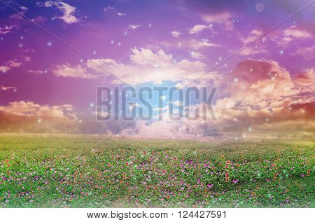 Abstract colourful dreamy like heaven sky with flowers field in romantic soft mood