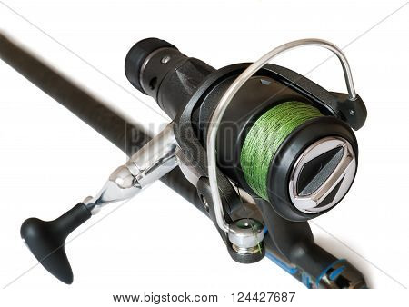 United Kingdom the feeder with fishing line - a fishing tackle for catching fish. Presented on a white background.