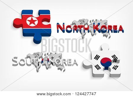 jigsaw of south korea and north korea ( political and confliction concept ) ( 3 dimension jigsaws )