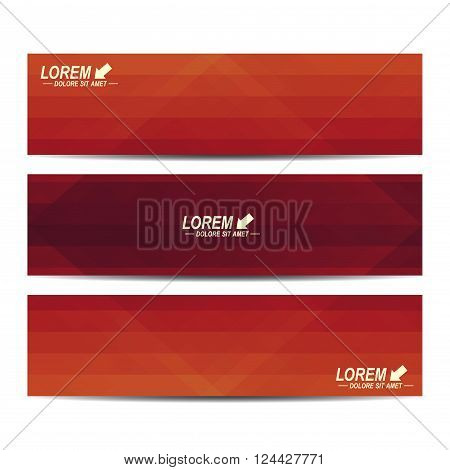 Red set of vector banners. Background with red triangles. Web banners card, vip, certificate, gift, voucher. Modern business stylish design.