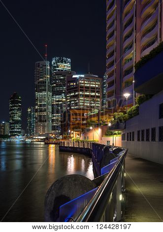 The waterfront path of Brisbane in Queensland