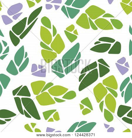 Seamless pattern with cones of hops or leaves and flowers