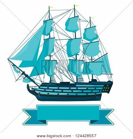 Old blue wooden historical boat on white. Sailing boat with sails, mast, brown deck, guns. Illustration of galleon. Training corvette ship for pirate - flatten icon isolated master vector