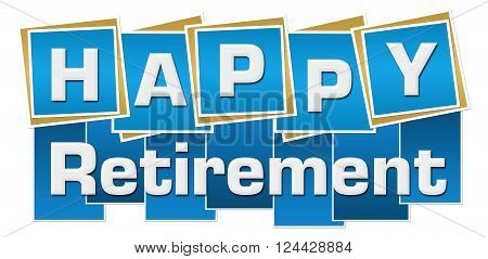 Happy retirement text over vibrant colorful background.