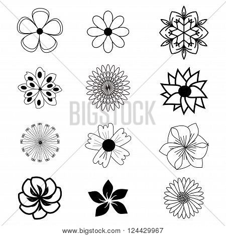 Set of flat flower icons in silhouette isolated on white. Simple designs in black and white. Can be used for gift wrapping paper textiles wallpaper.