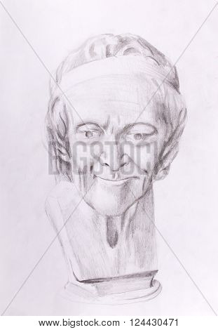 drawing of philosopher voltaire sculpture on abstract background