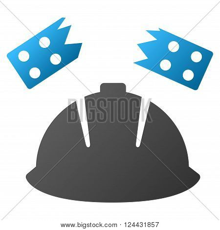 Brick Helmet Accident vector toolbar icon for software design. Style is a gradient icon symbol on a white background.
