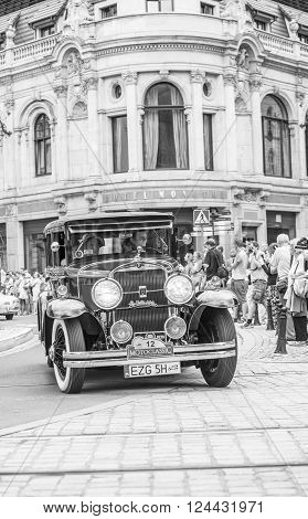 Wroclaw- August 18: Cadillac Lasalle On Motoclassic Show In Black And White  In Wroclaw, Poland On A