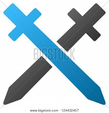 Crossing Swords vector toolbar icon for software design. Style is a gradient icon symbol on a white background.