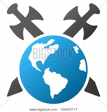 Earth Swords vector toolbar icon for software design. Style is a gradient icon symbol on a white background.
