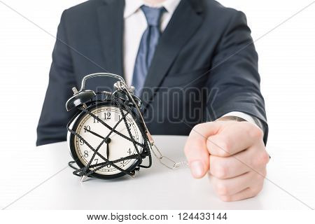 Angry Imprisoned Man And Time Pressure