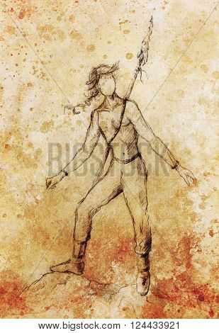 young native american indian warrior with spear weapon , figure drawing