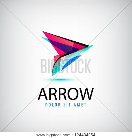 Vector colorful abstract logo, arrow logo. Web design logo, cursor logo, navigation logo, business identity design template isolated