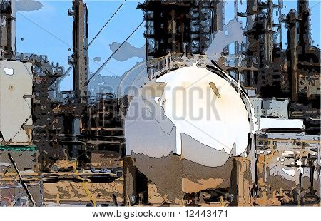 Oil Refinery And Big Storage Tank