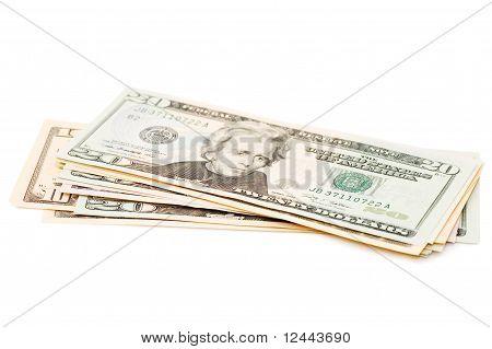 Pacote dólares isolados no fundo branco