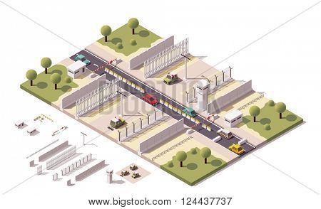 Isometric illustration representing border security equipment