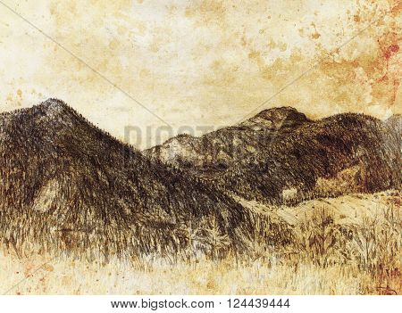 landscape painting and mountain  on old paper background