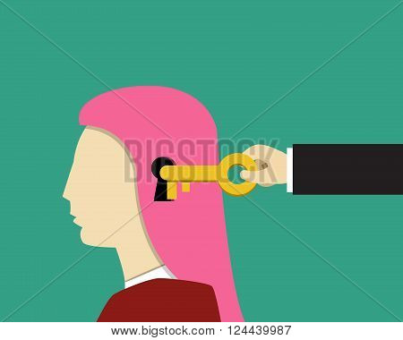 Girl and female psychology Unlock and Read minds vector