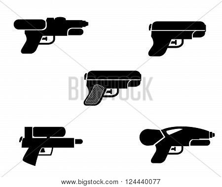 Set of water gun icons in silhouette style vector object
