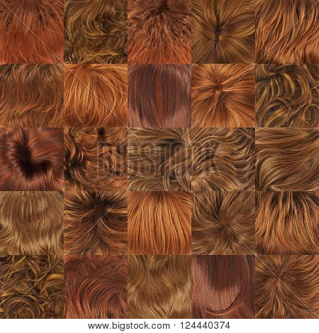 Multiple red hair textures as a set of a backgrounds or a seamless backdrop pattern