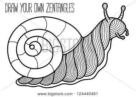 Cute garden snail. Vector illustration of cute ornate zentangle garden snail for children or for adult anti stress coloring book
